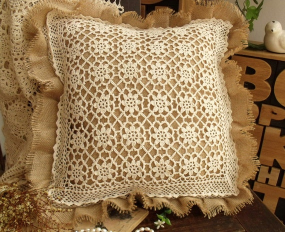 Shabby Chic Burlap Pillows : SHABBY Rustic French chic Burlap Pillow by BetterhomeLiving
