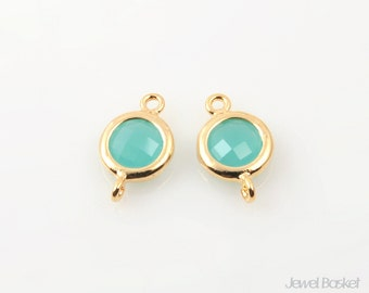 Mint color Glass and Gold Frame Connector / 6mm x 10mm / SMTG059-C (2pcs)