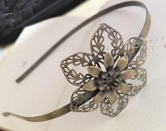 2pcs 53x53mm Floral headband  Antique Bronze Filigree metal Headband