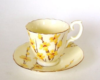 Vintage Teacup and Saucer Set Yellow Hand Painted Crown Staffordshire Fine Bone China Tea Cup - Yellow Floral -Made in England Mid Century