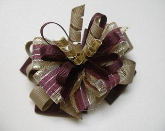 Maroon Khaki School Uniform Korker 4 inch Hair Bow Burgundy Gold Toddler Girl Xmas Holiday