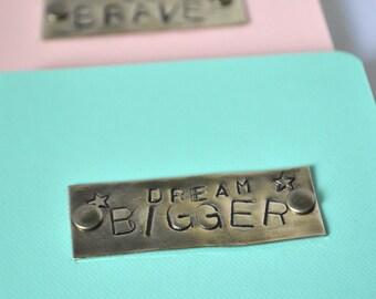 Dream Bigger Art Journal, 3.5x5.5 inch Notebook, Handstamped Metal Book Plate, Mixed Media Supply, DIY Planner, Pocket Journal, Jotter