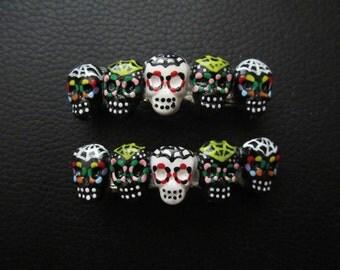 Sugar Skull Day Of the Dead Handpainted Skull Barrette
