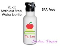 Personalized teacher stainless steel water bottle - teacher cups - teacher gifts teacher cups- teacher water bottles