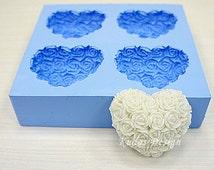 HR035 Rose Heart Medium Soap Mold, soap mold, silicone soap mold (Kudos Design, Kudosoap) Taiwan