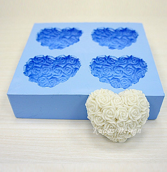 Hr035 Rose Heart Medium Soap Mold Soap Mold Silicone Soap