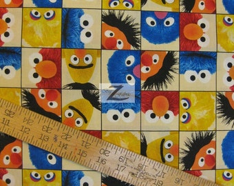 """Welcome to Sesame Street Ecru 100% Cotton Fabric - 45"""" Width Sold By The Yard (FH-12)"""