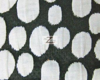 "Poco Dot Splash Poly Spandex Fabric - BLACK/WHITE - Sold By The Yard 58"" Width"