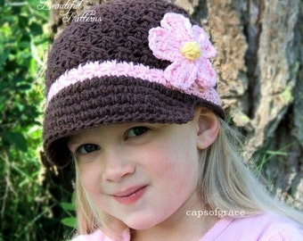 Crochet Hat Pattern Girl Daisy Visor Beanie Hat PDF 150 Newborn to Adult  Photography Prop Instant Download