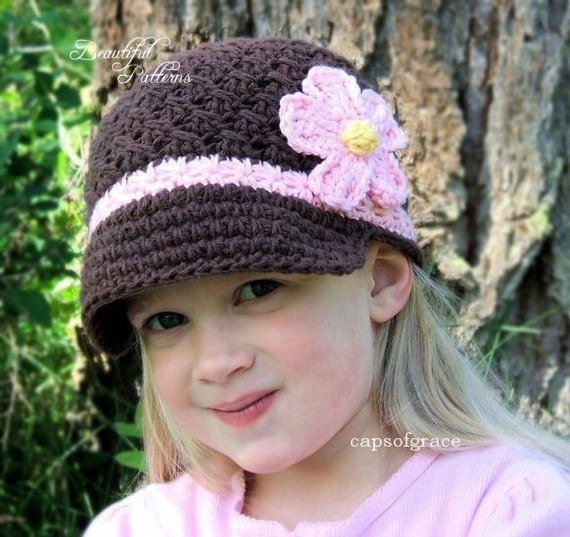 Daisy Crochet Baby Hat Pattern : Crochet Hat Pattern Girl Daisy Visor Beanie by ...