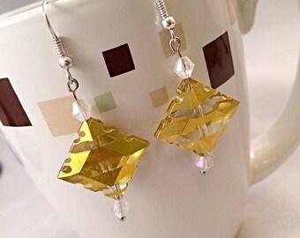 Yellow diamond cut beaded dangle earrings handmade jewelry