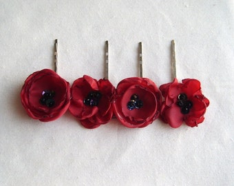 Valentines Day Red Flower Bobby Pin Floral Hair Accessories Red Flower Hair Pin Floral Hair Clip Bridesmaid Hair
