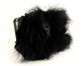Black Clutch, Black Purse, Black Evening Bag, Black satin hard case evening bag- Black party clutch, Black Feather Purse