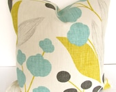 PILLOW Cover Aqua MINT Decorative Throw Pillows Grey 18 x 18 Gold gray Turquoise pillows Yellow Linen Floral Home and Living