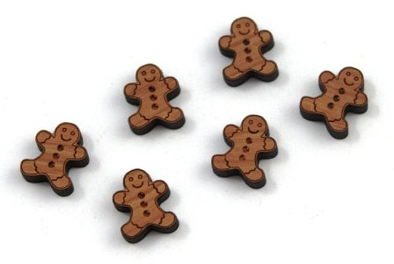 Laser Cut Supplies-8 Pieces. Gingerbread Men Charms- Laser Cut Wood- Earring Supplies- Little Laser Lab Sustainable Wood Products