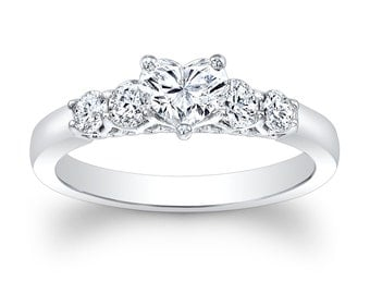 Ladies 18kt white gold 1.00ct Heart Shape Center engagement ring with 0.50 ctw G-VS2 round diamonds