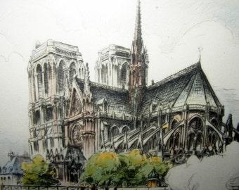 """Vintage Original Etching """"L'Abside de Notre Dame"""" signed by artist Marcel Bessan '40s"""
