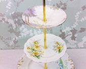 Vintage floral 3 tier Cake Stand