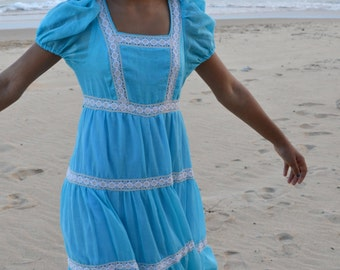 Blue cotton prairie gypsy girl dress vintage peasant baby doll,  small teen tiered with lace