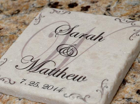 Monogrammed Wedding Gifts Couple: Personalized Wedding Couple Tumbled Stone Coasters Set Of 4