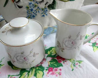 "Cream and Sugar Set, Haviland, Retro, ""Dawn Rose"""