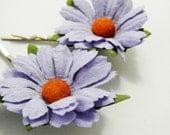 Purple Daisy Hair Clips, Lilac Flower Clips, Wedding Flower Pins, Bridal hair pins, Bobby Pin Flowers, Floral Hair Bobbies