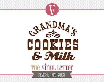 Grandma's Cookies and Milk Vinyl Wall Decal Home Decor Sticker