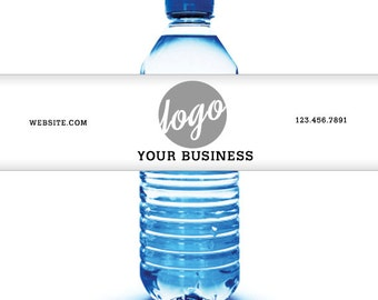 Custom Water Bottle Labels - Your Business Logo or Design - Custom Logo Water Bottle Labels - Business Water Bottle Labels