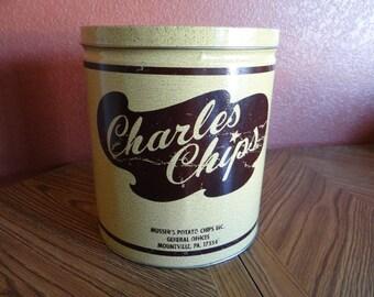 Charles Chips Metal Tin - Vintage Advertising Memorabilia