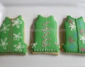 LILLY Pulitzer Inspired Dress Cookies GREEN Set #2 favors (12) 1 dozen