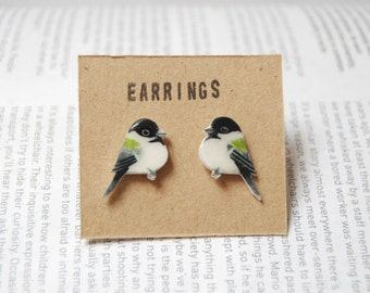 Chickadee Earrings. Hand painted bird earrings.