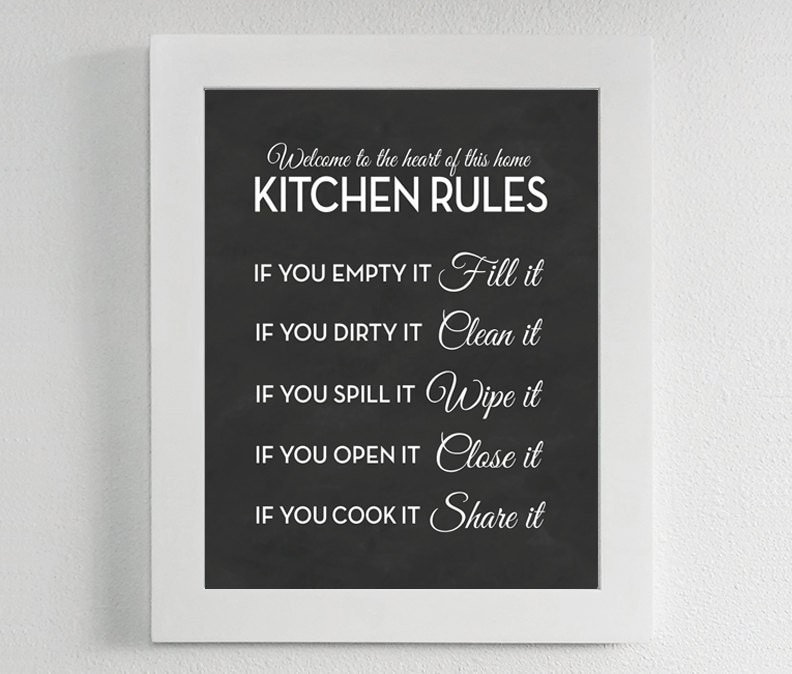 Clean Kitchen Quotes: Kitchen Rules Print Chalkboard Sign Poster Art Quote