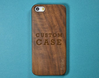 Custom Laser Engraved Walnut Wooden iPhone 5/5S Case - Free Shipping in the USA
