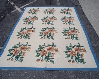 1980s Handmade 6x9 Vintage Floral Needlepoint Aubusson-Style Rug (2854)