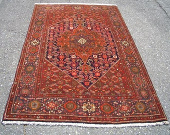1980s Vintage Hand-Knotted Gholtogh Bijar Persian Rug (2924)