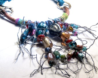 Carnivale Macrame Glass Bead Leather Necklace Bohemian Jewelry Mardi Gras Statement Necklace