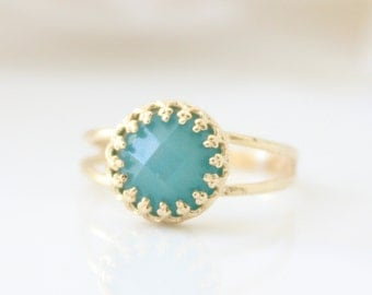 Mint ring - Gold ring set with a mint amazonite gemstone, Gift for her