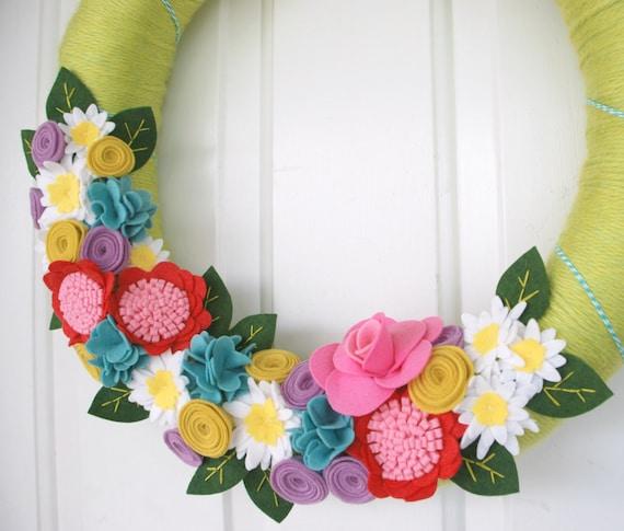 Bright Green Spring Wreath - Yarn and Felt Wreath - Spring or Summer Yarn Wreath with Colorful Felt Flowers
