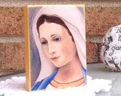 4 by 5 inch Print Mounted on Wood Block of Our Lady of Medjugorje/Blessed Mother Portrait/Catholic Icon Print