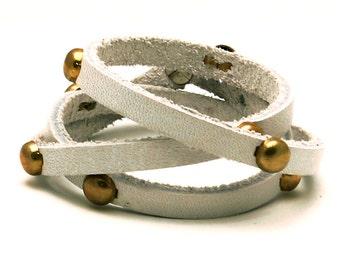 Multi Wrap Studded White Leather Bracelet
