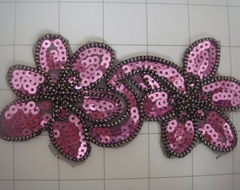 """Fuschia Black and Silver Sequins Sew on Applique 5.25"""" by 3"""""""