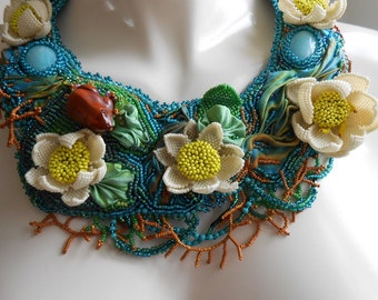 Waterlilies A  Study: OOAK, Bead Embroidered,  Bead woven , dimensional Collar