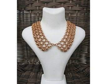Handmade Chainmail Collar in Gold Color