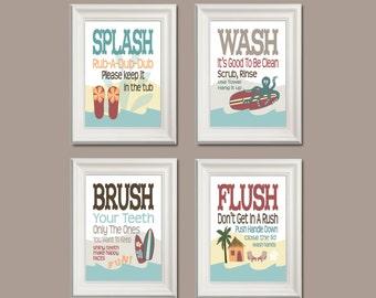 Childrens Kids Surf Beach Theme Bathroom Art Prints Set of 4