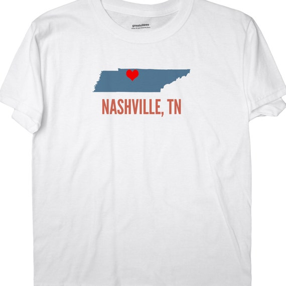Greatcitees unisex nashville tennessee tn heart hometown for Nashville t shirt printing
