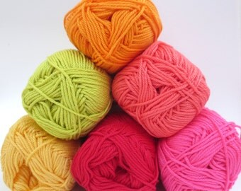Planet Penny Cotton Colours Yarn - Pack of 6 Colours -Sunshine Selection - HALF PACK