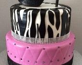 black shoe stiletto cake topper glitter sparkley sugar glass slipper isomalt  decoration