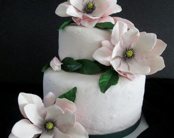 magnolia northern magnolia cake topper edible sugar gum paste pink wedding bridal mothers day