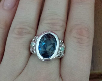 Blue Animal Print and Opal Ring