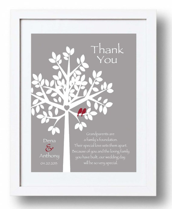 Wedding Gifts For Parents And Grandparents : WEDDING Gift for GRANDPARENTS from Bride & Groom - Thank you Wedding ...